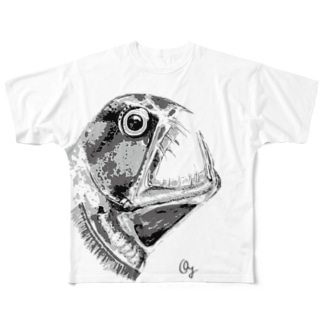 ホウライエソ(モノクロ) Full graphic T-shirts