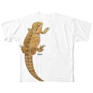 ひっつきフトアゴ Full graphic T-shirts