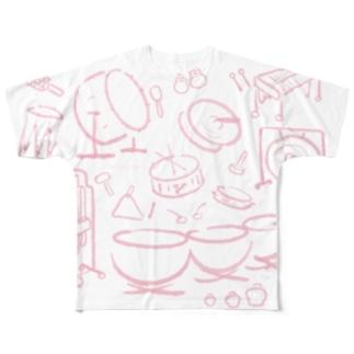 打楽器だらけ うすピンク Percussions Pink2 Full graphic T-shirts