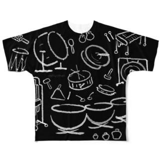 打楽器だらけ しろくろ Percussions black&white Full graphic T-shirts