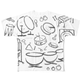 OSHIYOMANの打楽器だらけ くろ はいいろ Percussions black gray Full graphic T-shirts