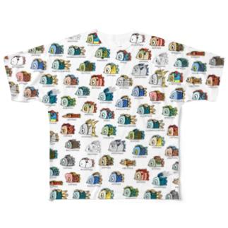 アマビエ図鑑フルグラ両面 Full graphic T-shirts