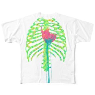 淡い肋骨とハート Full graphic T-shirts