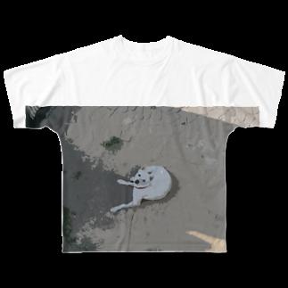 りっちゃんのへや。の白い犬 Full graphic T-shirts