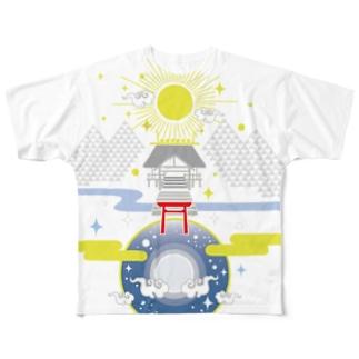 聖域 太陽と月と神社 Full graphic T-shirts
