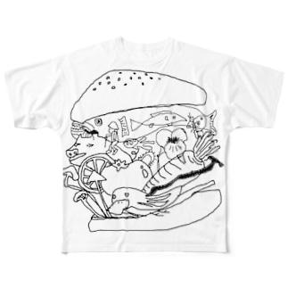 ハンバンガー フルグラフィックTシャツ
