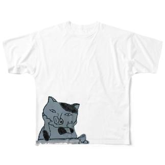 何か言いたげなネコ フルグラフィックTシャツ