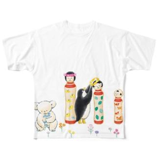 マールとショーイ こけしちゃん Full graphic T-shirts