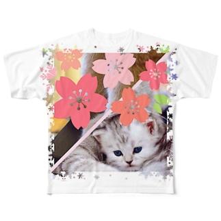 サクラとニャンコの親子 Full graphic T-shirts