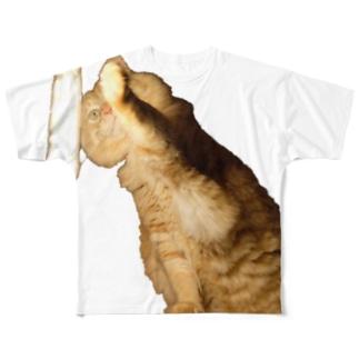 -猫- 左手を暖めるはっさく Full graphic T-shirts