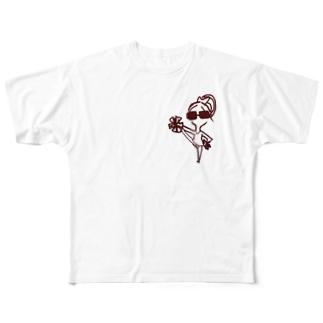 チアダンス 女の子 モアさん Full graphic T-shirts