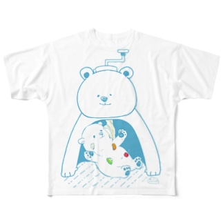 かき氷おたべ しろくま親子 Full graphic T-shirts