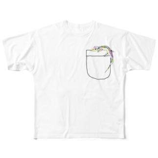 ポケットトカゲ Full graphic T-shirts