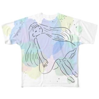 ふわふわきらきら Full graphic T-shirts