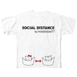 Life Design Factory PINCEのソーシャルディスタンス猫 Full graphic T-shirts