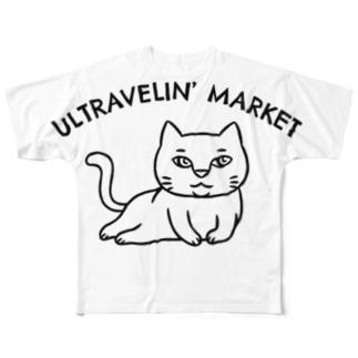 ULTRAVELIN' MARKETの寝そべり猫 Full graphic T-shirts