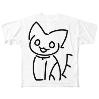 NO CAT NO LIFE おすわり Full graphic T-shirts