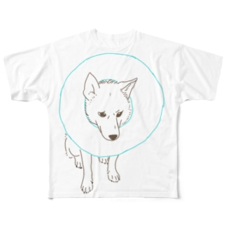 いぬちゃん~エリザベスカラー Full graphic T-shirts