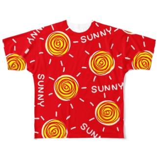 晴れ女晴れ男REDフルグラフィック Full graphic T-shirts