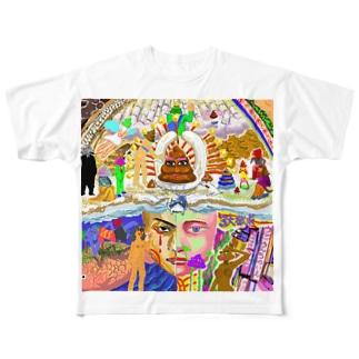 ダイナミックゴッドカムイハイパーうんこの贖罪 ー支配と欲求ー Full graphic T-shirts