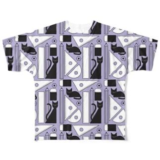 文房具と黒猫 Full graphic T-shirts