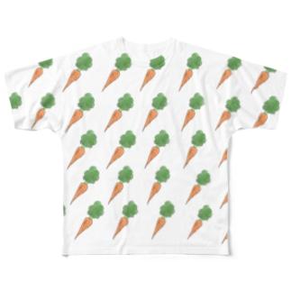 🥕にんじん大豊作Tシャツ🥕 Full graphic T-shirts