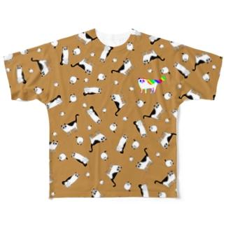 SSRレインボーパンダネコ Full graphic T-shirts
