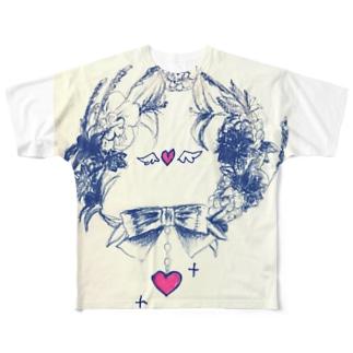 お花の輪 Full graphic T-shirts