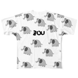 らくがきゾウG(フルグラフィック) Full graphic T-shirts