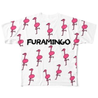 らくがきフラミンゴP(フルグラフィック) Full graphic T-shirts