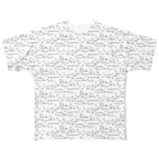 キツネイモリづくし 白 Full graphic T-shirts