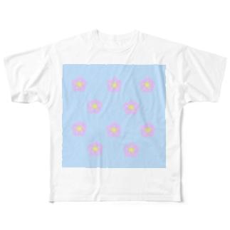 ピンクふらわー(ブルー) Full graphic T-shirts