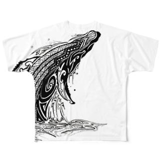 鯨のトライバル Full graphic T-shirts