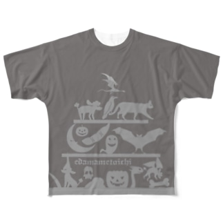 ハロウィン 2 グレイ  Mサイズ用 両面 Full graphic T-shirts