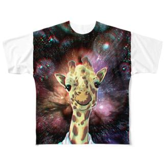 コスモを受信するキリン Full graphic T-shirts