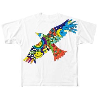 虹色の飛ぶ鳥 Full graphic T-shirts