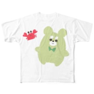 くままろくんとカニ Full graphic T-shirts