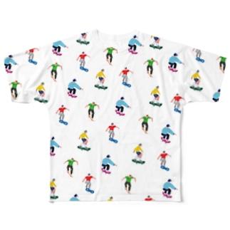 スケボーであそぼー Full graphic T-shirts