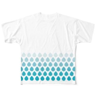 涙滴ウロコ ver.2 Full graphic T-shirts