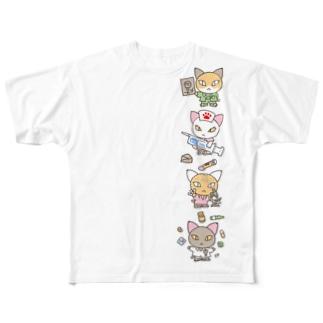 忙しいねこたち メディカル Full graphic T-shirts