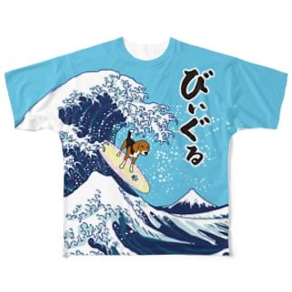 浮世絵サーフィンびぃぐる Full graphic T-shirts