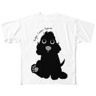 パピコッカー【ブラック】 Full graphic T-shirts