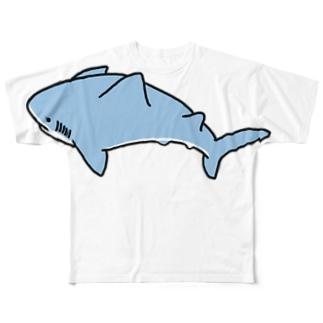 いつも心にシャークを ブルーブラック Full graphic T-shirts