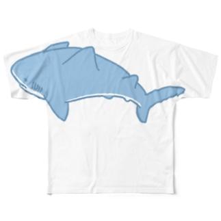 いつも心にシャークをグレイブラック Full graphic T-shirts