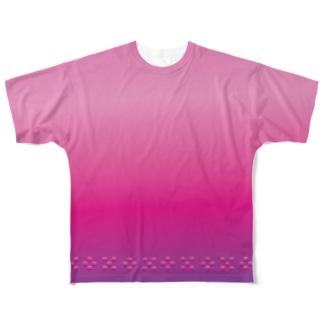 太陽と花々の赤 ミンサー Full graphic T-shirts