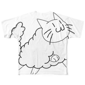 もこねこフルグラフィックTシャツ Full graphic T-shirts