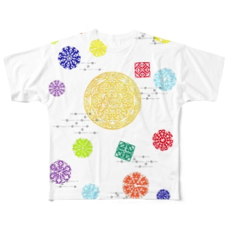 Maru ⭕ Mandala 花雲流 Full graphic T-shirts