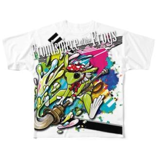 画家エリミミガエル(緑4) Full graphic T-shirts