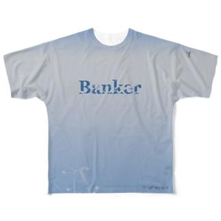 ビンテージ加工のバンカーTシャツ  Full graphic T-shirts