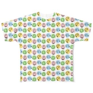 カラフルなゆる~いカピバラ Full graphic T-shirts